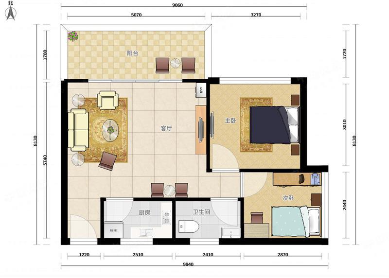 花乡家园 标准2房 厅出阳台 高楼层视野好 满5