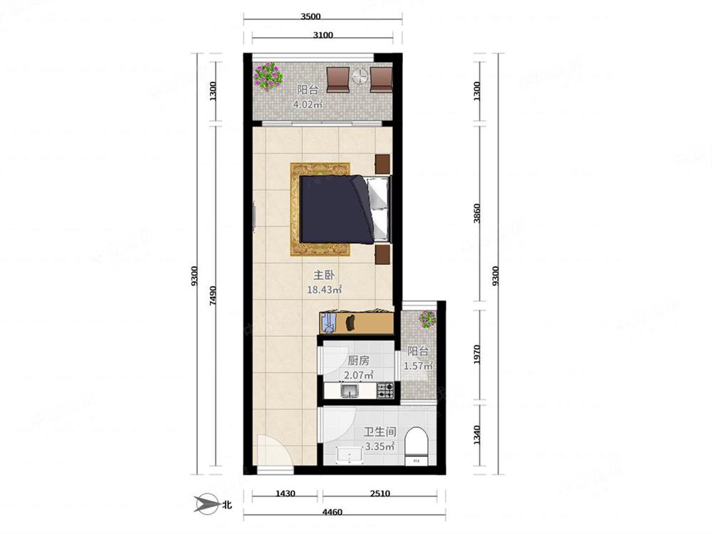 蛇口四海公寓 一房一厅 全新精致装修 拎包入住