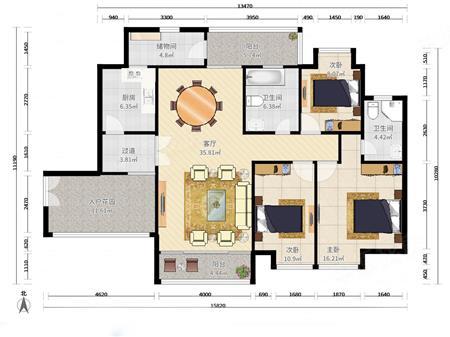天宝物华 大平层3房 带入户 双阳台 南北通 东海 深高学