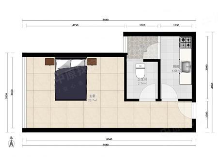 【滨福世纪广场】全齐一房一卫户型方正布局合理新装修性价比较高