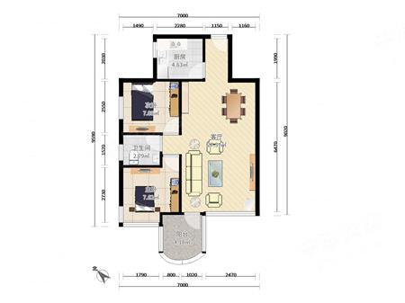 星海名城 70平正南向大两房 位置安静 格局好近地铁 带学位